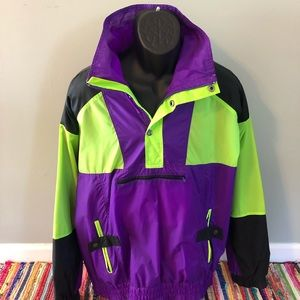 80s Neon Ski Jacket Winter Snow